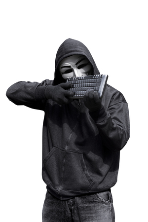 vendetta: Man wearing vendetta mask holding keyboard want to shoot isolated against white background