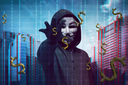 Hacker man wearing anonymous mask stealing money with binary code in background