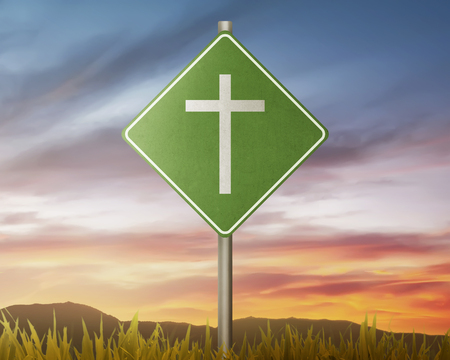 Traffic road with christian cross with sunset background