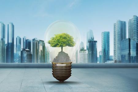 Green tree inside light bulb against modern city background