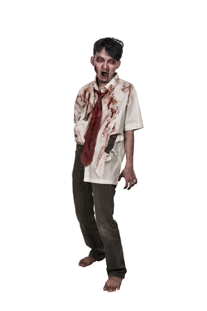 Creepy asian zombie man with bloody face standing isolated over white background Stock Photo