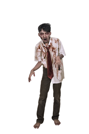 Portrait of asian zombie man with hand to reach you isolated over white background