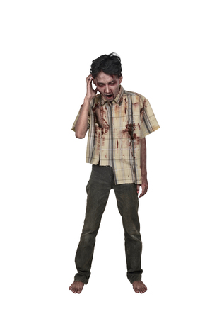 Portrait of scary asian zombie man in clothes isolated over white background