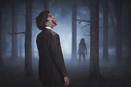Scary asian zombies on the forest at night