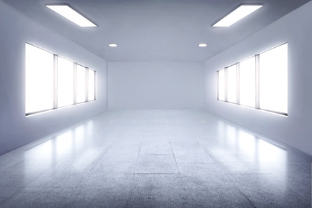 windows: Empty white room with lamps and window for background