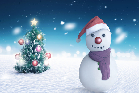 Image of jack frost with christmas tree background
