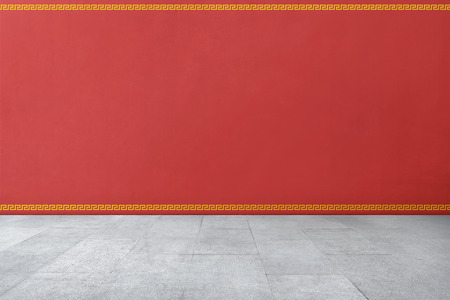 Chinese traditional style pattern on red wall with tiled floor