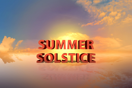 Summer solstice with dramatic sunset background