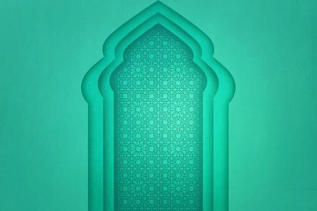 motif unique sur le trottoir de l & # 39 ; arc avec fond de mur vert