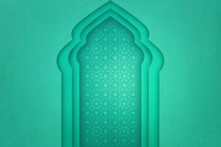 Unique pattern on the window arch with green wall background