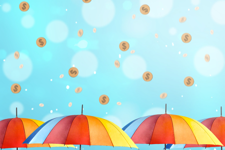 Colorful umbrella with rainy gold coin. Monsoon sale concept