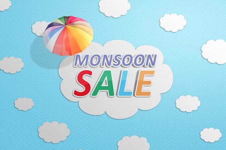 Monsoon sale text with cloud and umbrella. Monsoon sale concept Stock Photo