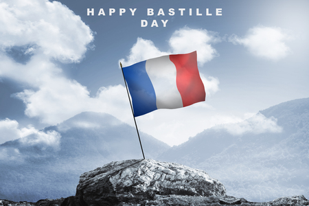 Happy bastille day with france Flag at 14th July