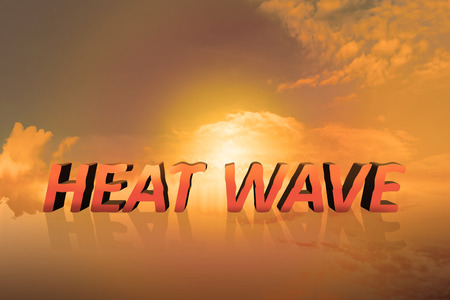 Sunset with heat wave on the sky. Heat wave concept