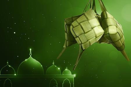 Rice dumpling (ketupat) for eid celebration with green background