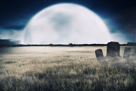 Creepy grass fields with graves and tombstone on the midnight. Halloween background