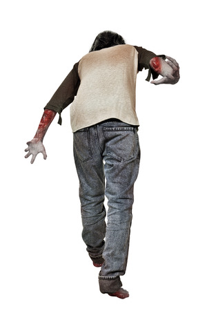 Rear view of zombie man with blood on his hands standing isolated over white background