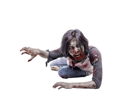Portrait of asian zombie man crawling with hands posing isolated over white background