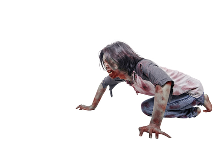 Creepy asian zombie man with bloody mouth crawling isolated over white background