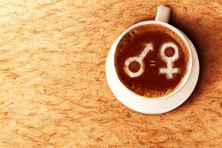 Symbol of male gender is equal to female in the coffee cup. Equality gender concept