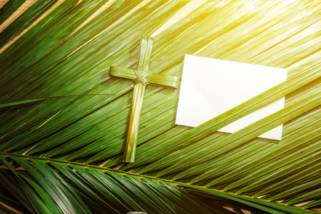 Cross shape of palm leaf on palm branches with white blank paper and ray in wooden background. Palm Sunday concept