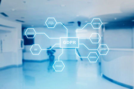 GDPR protection structure on virtual screen with office room background. Cyber security and privacy. General Data Protection Regulation (GDPR) concept