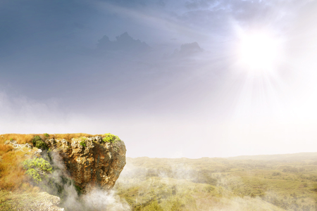 The edge of cliff with landscapes and sunlight background Stockfoto
