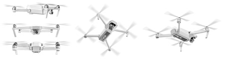 Set of white drone with twirled propellers isolated over white background