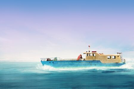 Public transport boat sailing on the sea with blue sky background