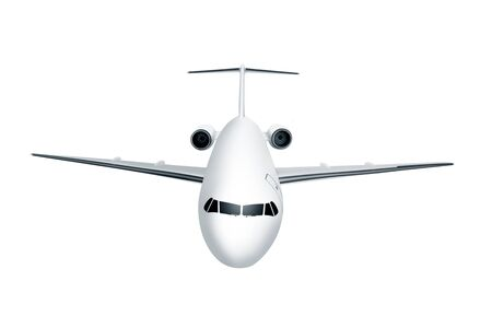 White airplane isolated over white background Stock Photo