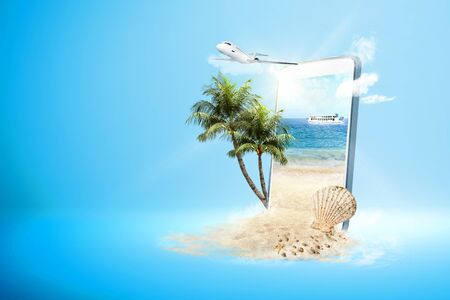 Mobile phone with blue background. From the phone screen comes sandy beach with ferry boat sail on the sea and plane flying on the sky to the outside. Traveling concept Banque d'images