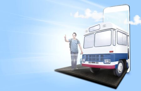 Mobile phone with blue background. From the phone screen comes asian man with suitcase bag and backpack standing and pointing to the distance and bus on the road to the outside. Traveling concept