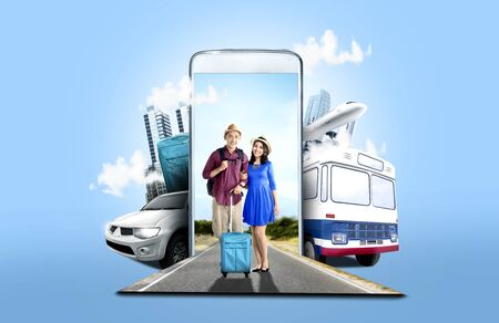 Mobile phone with transportation and buildings on blue background. From the phone comes asian couple in hat with suitcase bag and backpack standing on the street. Traveling concept