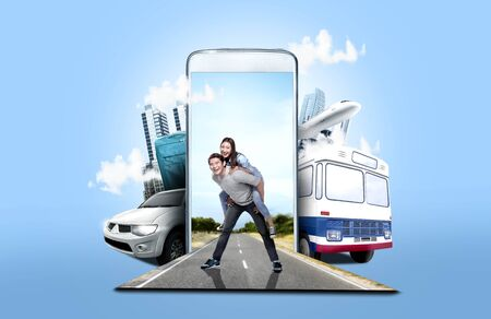 Mobile phone with transportation and buildings on blue background. From the phone comes asian couple having fun on the street. Traveling concept