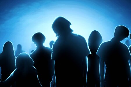 Silhouette of zombies crowds at night. Halloween concept Stock Photo