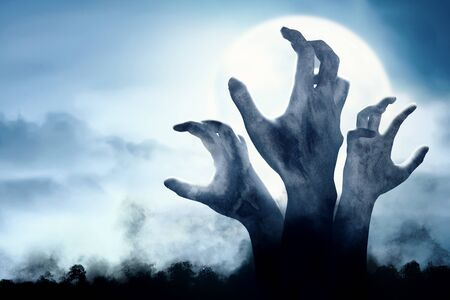 Rise of zombies hand from the ground at night. Halloween concept