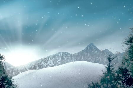 View of hills with snowy trees and sunlight over blue sky background Imagens