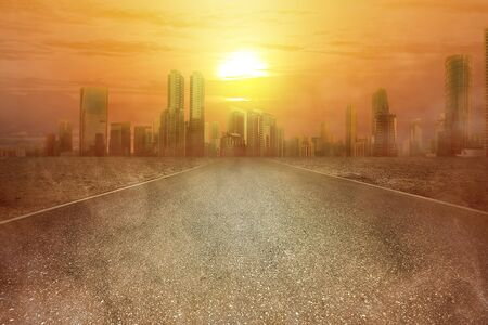 Heatwave on the city with the glowing sun background. Heatwave concept Stock fotó