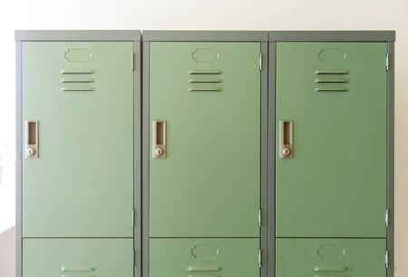 Close up view of the closed locker on the workplace
