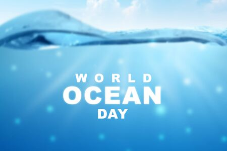 Sea waves with World Ocean Day text. World Ocean Day Concept