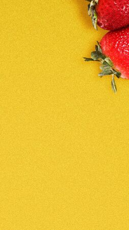 Strawberry on vivid yellow background. Stories template for summer