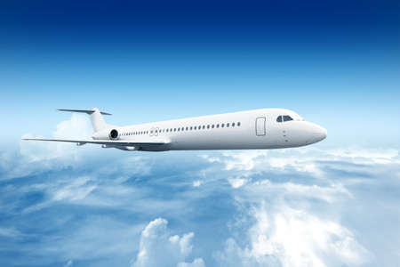Airplane flying in the air with a blue sky scene
