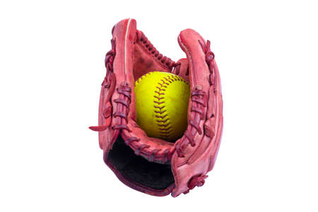 Baseball glove with ball isolated over white background Banque d'images