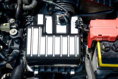 Detail of engine car inside the car hood 免版税图像