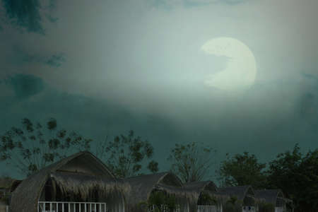 Spooky resort with moonlight and night scene background