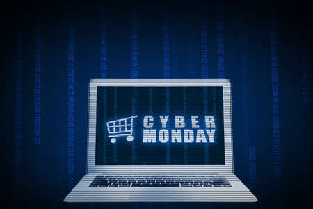 Cyber Monday advert on the laptop screen with a blue background. Cyber Monday concept