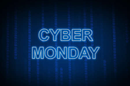 Cyber Monday text with a blue background. Cyber Monday concept
