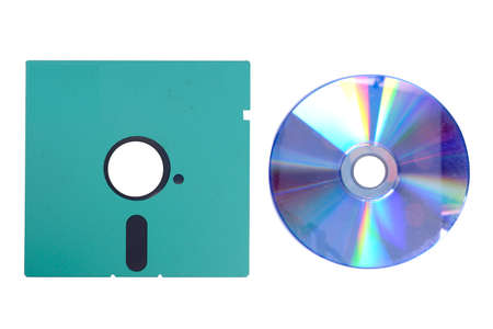 Close up view of floppy disk isolated over white background