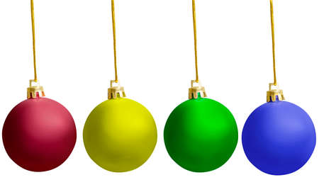 Colorful Christmas ball hanging isolated over white background