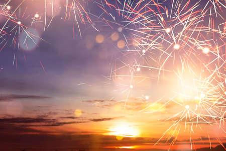 Fireworks with sunset sky Archivio Fotografico